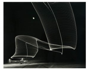 Andreas Feininger: 'Navy Helicopter Or Patterns by Helicopter Wing Lights' 1949